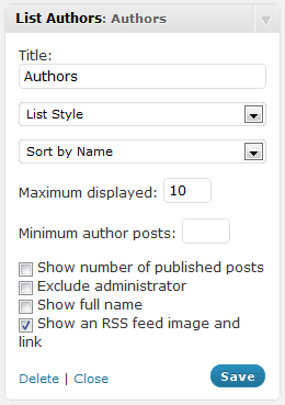 List Authors Configuration