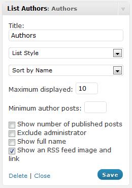 List Authors Configuration