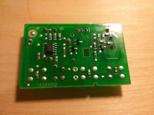 The transistor leads soldered and trimmed