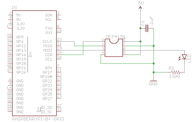 controlling the mcp4151 digital potentiometer with the raspberry pi